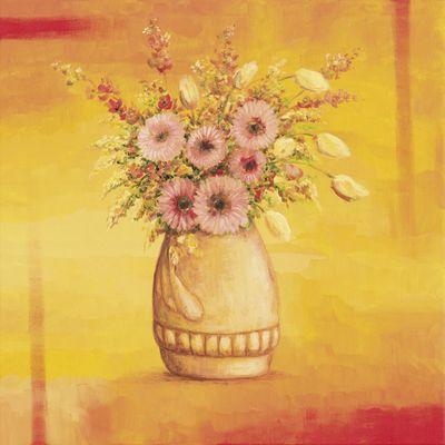 A. S.: Blumenbouquet I - Original auf Leinwand 70 x 70 cm