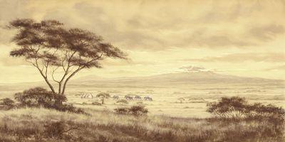 A. Heins: Afrikanische Landschaft - beige - Original auf Leinwand 70 x 140 cm