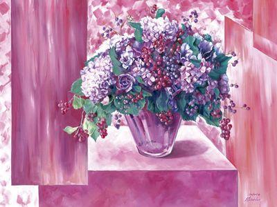 Andrea Schieler: Hortensien weiß-rosa - Original auf Leinwand 70 x 90 cm