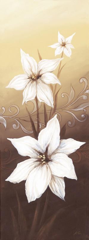 A. S.: Blumige Entartung III -Lilien - Original auf Leinwand 80 x 30 cm