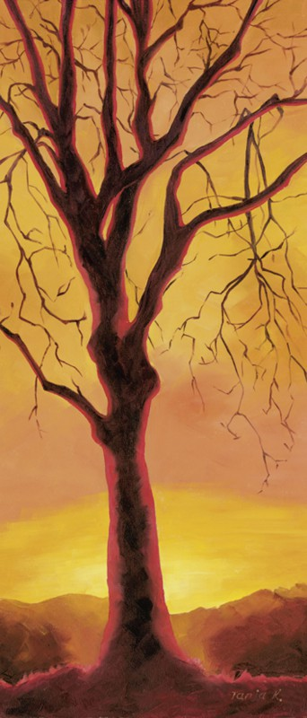 Tanja Kowak: Baum - Original auf Leinwand 70 x 33 cm