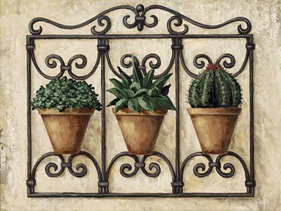 A. S.: Topfpflanzen-Set - Original auf Leinwand 60 x 80 cm