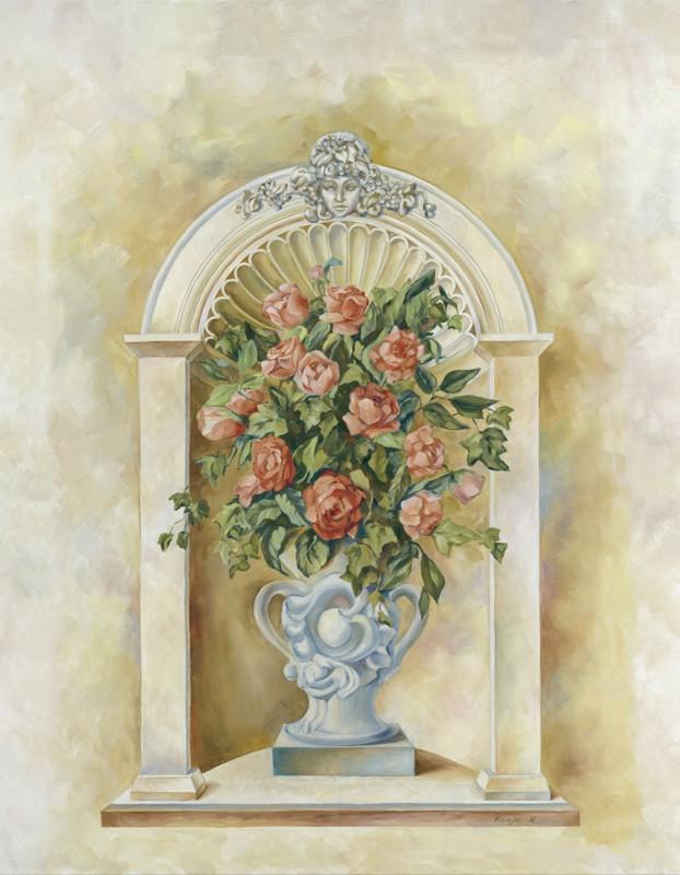 Tanja Kowak: Klassisches Arrangement - Original auf Leinwand 90 x 70 cm