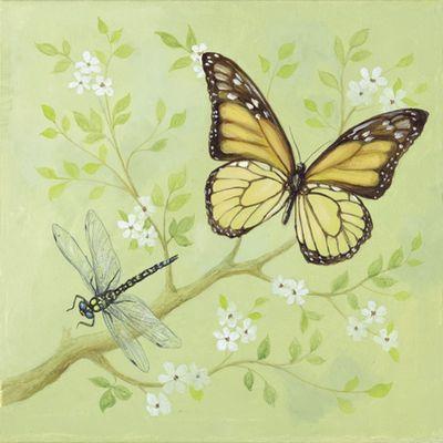 A. S.: Schmetterling und weiße Blumen - Original auf Leinwand 50 x 50 cm