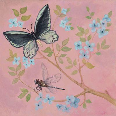 A. S.: Schmetterling und blaue Blumen - Original auf Leinwand 50 x 50 cm