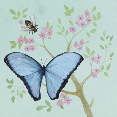 A. S.: Schmetterling und pinke Blumen - Original auf Leinwand 50 x 50 cm