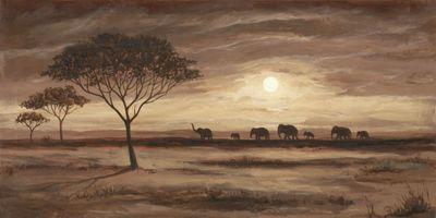 Andres: African Brown Landscape - Elephants - Original auf Leinwand 50 x 100 cm