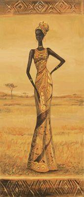 A. S.: Afrikanische Eleganz I - Original auf Leinwand 70 x 30 cm