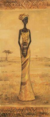 A. S.: Afrikanische Eleganz II - Original auf Leinwand 70 x 30 cm
