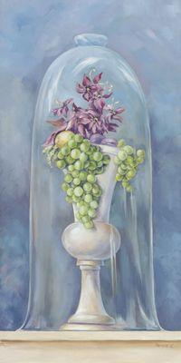 Tanja Kowak: Blumen mit Trauben - Original auf Leinwand 80 x 40 cm