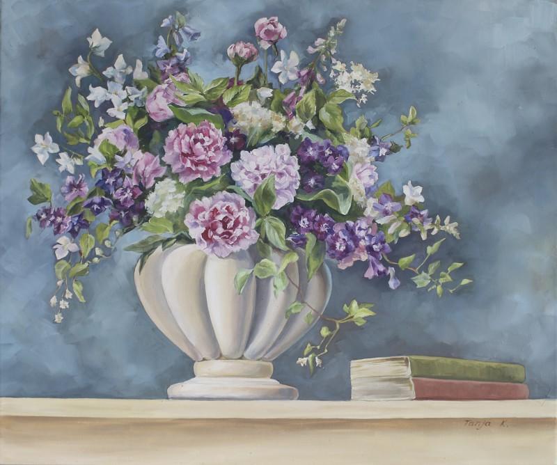 Tanja Kowak: Blumengesteck - Original auf Leinwand 50 x 60 cm