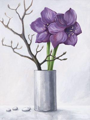 A. S.: Lila Amaryllis - Original auf Leinwand 80 x 60 cm