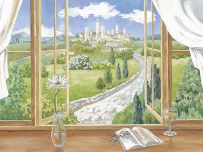 Tanja Kowak: Fenster zur Toskana - Original auf Leinwand 70 x 90 cm