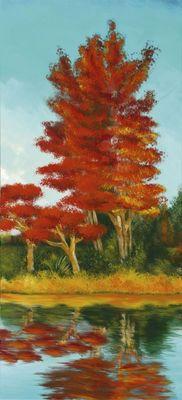 Ellen F.: Red Trees at the Lake IV - Original auf Leinwand 110 x 50 cm