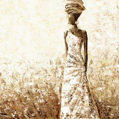 Frolova: Afrikanische Frau - Original auf Leinwand 60 x 60 cm