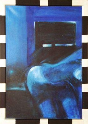 B. Muszynski: Blauer Akt - Original auf Leinwand, gerahmt 79 x 109 cm