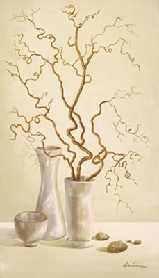 A. Heins: Korkenzieherhaselnusszweig - Original auf Leinwand 70 x 40 cm