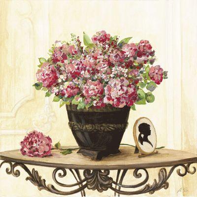 A. S.: Bouquet von roten Hortensien - Original auf Leinwand 50 x 50 cm