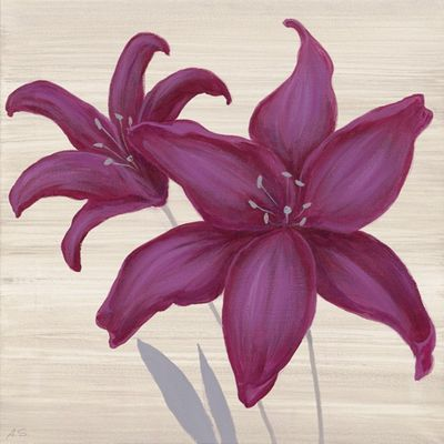 A. S.: Violette Lilien II - Original auf Leinwand 50 x 50 cm