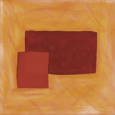 A. Hecht: Orange-Rote Komposition I - Original auf Leinwand 30 x 30 cm