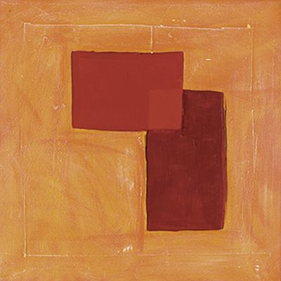A. Hecht: Orange-Rote Komposition II - Original auf Leinwand 30 x 30 cm