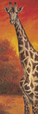 A. S.: Giraffe bei Sonnenuntergang - Original auf Leinwand 150 x 50 cm