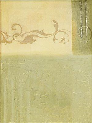 A. Hecht: Gold auf Grün - Original auf Leinwand 40 x 30 cm