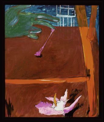 Walicki: Klebende Hand '04 - Original auf Leinwand, gerahmt 128,5 x 109,5 cm