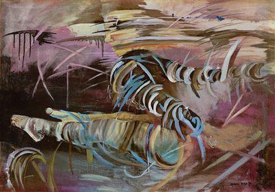 Marek Pera: Liegende - Original auf Leinwand 70 x 100 cm