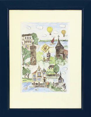 Mario Görres: Gruben - Original, gerahmt mit Passepartout 63,5 x 49,5 cm