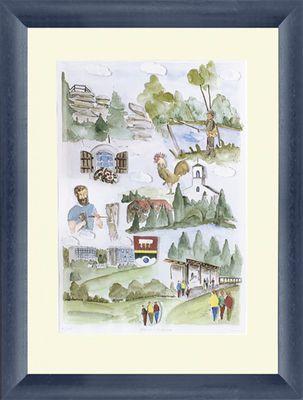 Mario Görres: Neureichenau - Original, gerahmt mit Passepartout 59,5 x 48,5 cm