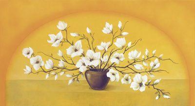 A. S.: Magnolien in Vase - Original auf Leinwand 60 x 110 cm