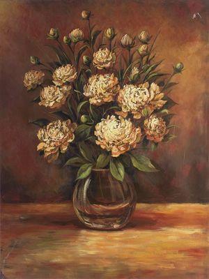 A. S.: Blumenstrauß in Vase - Original auf Leinwand 80 x 60 cm