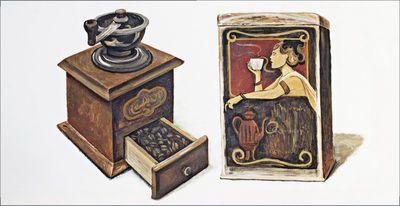 A. S.: Kaffee - Original auf Leinwand 49 x 95 cm