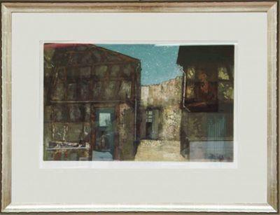 Schibli: Ingang fan garden - Original, gerahmt mit Passepartout 64 x 81 cm