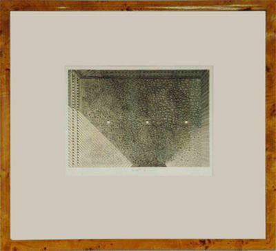 Jacques Muron: Die Mauer - Original, gerahmt mit Passepartout 69 x 76,5 cm