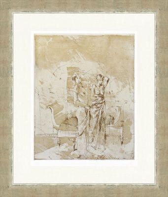 Jürgen Görg: Gegenüberstellung III - Original, gerahmt mit Passepartout 75,4 x 61,9 cm