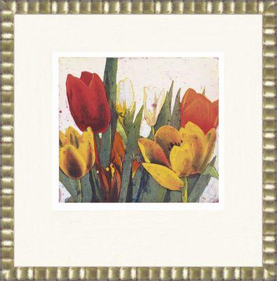 Gerhard Hofmann: Tulpenblüte - Original, gerahmt mit Passepartout 77,5 x 75,5 cm
