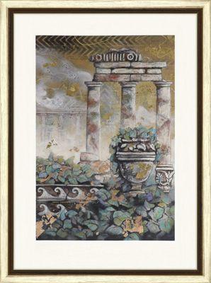 Robert Hoglund: Gartendrama-B #4 - Original, gerahmt mit Passepartout 125,4 x 92,4 cm