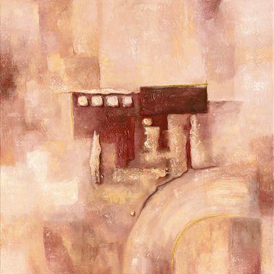 A. Hecht: Bordeauxfarbene Pracht II - Abstrakt - Original in Mischtechnik 100 x 100 cm
