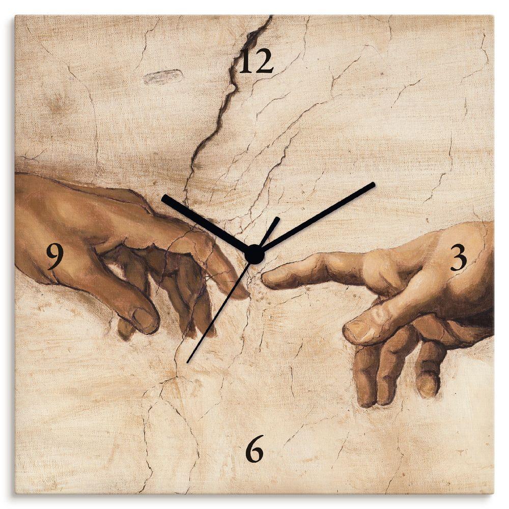 A. S.: Hände - Wanduhr auf Leinwand