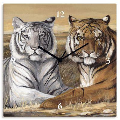 A. S.: Tiger Mittagsruhe - Wanduhr auf Leinwand