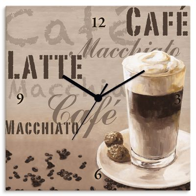 Jule: Kaffee - Latte Macchiato - Wanduhr auf Leinwand