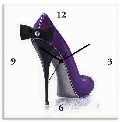 Xenia Frolova: Damenschuh - Violettes Modell - Wanduhr auf Leinwand
