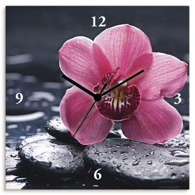 crystalfoto: Stillleben mit Kiesel und einer Orchidee in Makro mit Wassertropfen - Wanduhr auf Leinwand