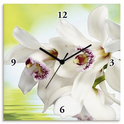 W. L.: Weiße Orchidee - Wanduhr auf Leinwand