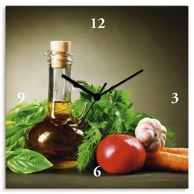 Anna Subbotina: Gesundes Gemüse und Olivenöl - Zitrone Tomate Möhre Knoblauch Basilikum Gewürze - Wanduhr auf Leinwand