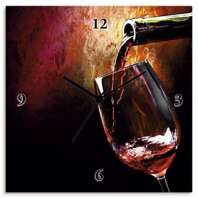 Anna Subbotina: Wein - Rotwein - Wanduhr auf Leinwand