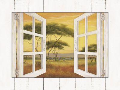 A. Heins: Fensterblick - Afrikalandschaft - Bild mit Modellrahmen 59,9 x 80,9 cm