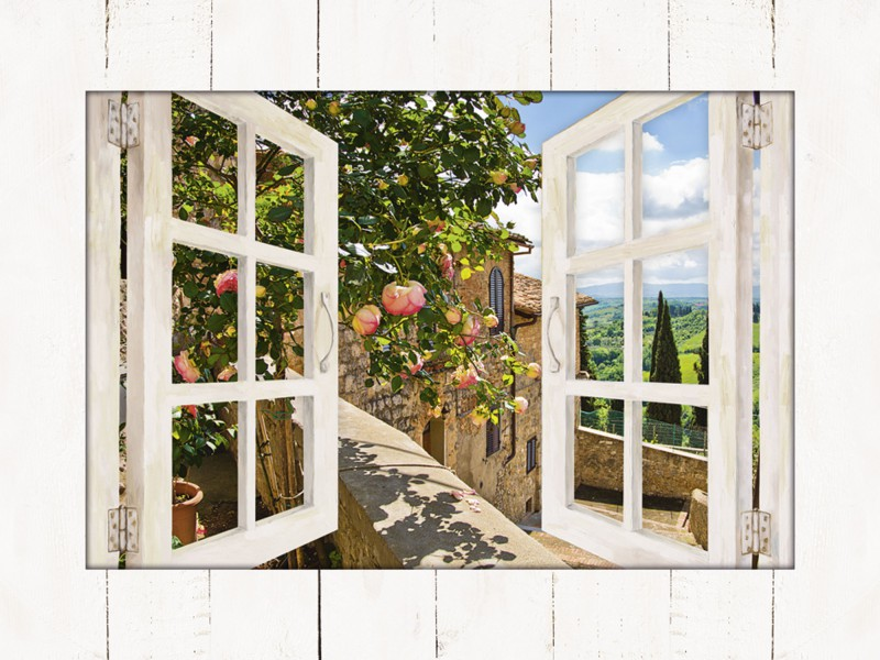 banepetkovic fensterblick rosen auf einem balkon in san gimignano mit toskanalandschaft im. Black Bedroom Furniture Sets. Home Design Ideas